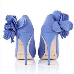 Karen Millen blue satin hydrangea peep toe